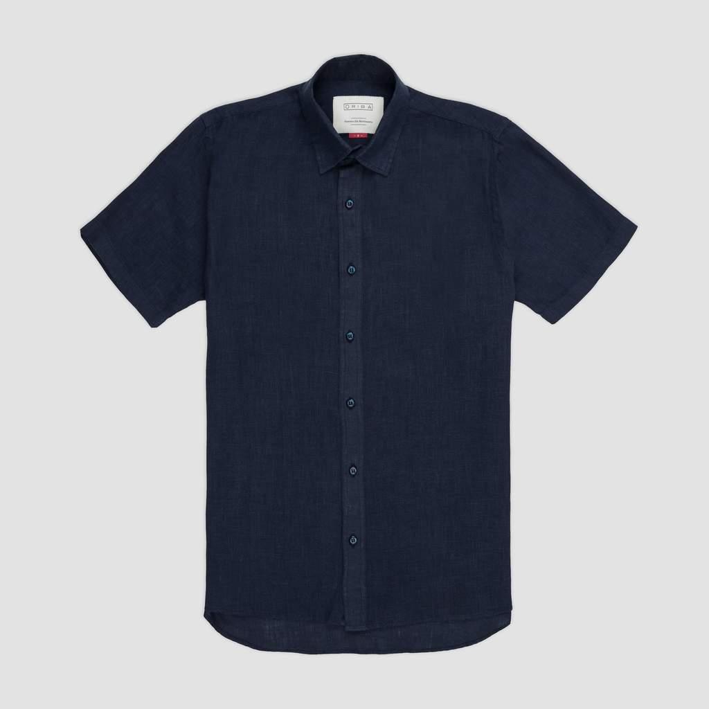 Oriba - Camisa Linho Manga Curta Azul Marinho